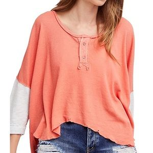 Free People Star Henley Top Coral
